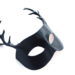 new black leather stag antler masquerade mask side