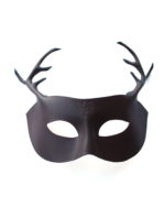 new brown leather stag antler masquerade mask