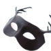 new brown leather stag antler masquerade mask side