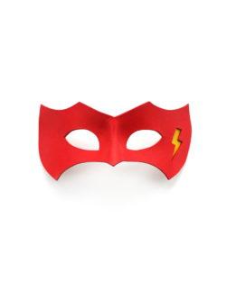 new flash red yellow leather superhero masquerade eye mask 1