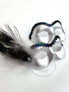 Couple's Silver Peacock Feather Eye Masks