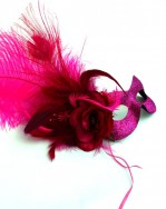Exotic Pink Feather Peacock Masquerade Eye Mask