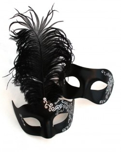 His & Hers Black Venetian Swirl Masquerade Mask Couple's Masks