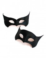 Couple's Leather Black Bat Masquerade Masks