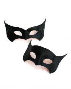 Couple's Leather Black Bat Masquerade Masks