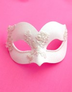 Ivory White & Swarovski Pearl Uccello Venetian Masquerade Mask