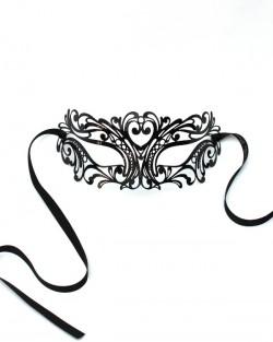 Men's Venetian Black Luxury Filigree Mask