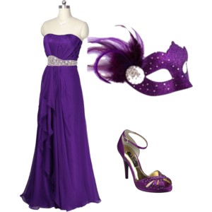 Purple masquerade mask outfit ideas