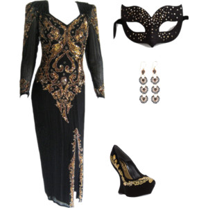 Ultimate Gold & Black Luxury Masked Ball Mask outfit
