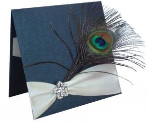 peacock & diamante wedding invitation