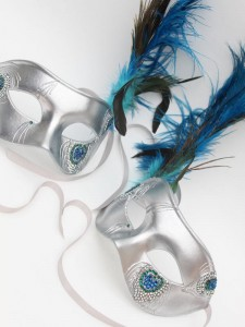 Luxury Men's Silver & Swarovski Crystal Peacock Feather Venetian Masquerade Masks