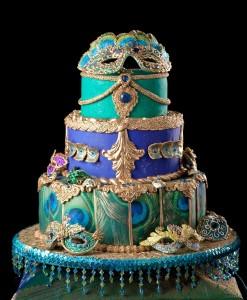 peacock masquerade cake