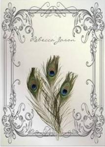 white peacock wedding invitation