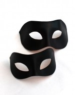Couple's Black Leather Venetian Columbina Eye Masks