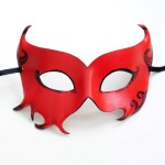 Women's red leather halloween devil masquerade mask