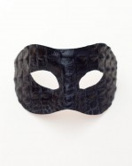 Men's Black Leather Crocodile Reptile Venetian Masquerade Mask