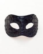 Men's Black Leather Crocodile Reptile Venetian Masquerade Mask