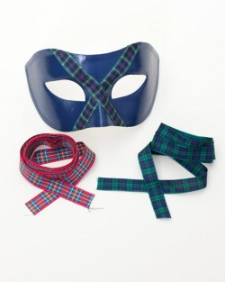 Men's Navy Blue Scottish Tartan Venetian Masquerade Mask c