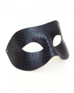 Mens Unique Gautier Black Patterned Leather Venetian Masquerade Mask