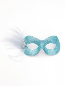 Pastel Ice Blue Silver Pretty Sparkly Masquerade Eye Mask