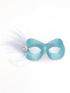 Pastel Ice Blue Silver Pretty Sparkly Masquerade Eye Mask
