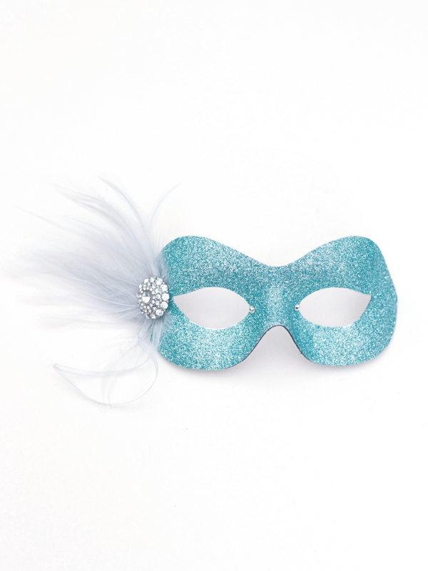 Pretty Sparkly Ice Blue amp Silver Masquerade Mask