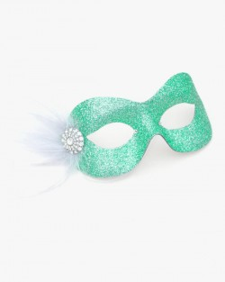 Pastel Pale Mint Sea Green Silver Pretty Sparkly Masquerade Eye Mask a