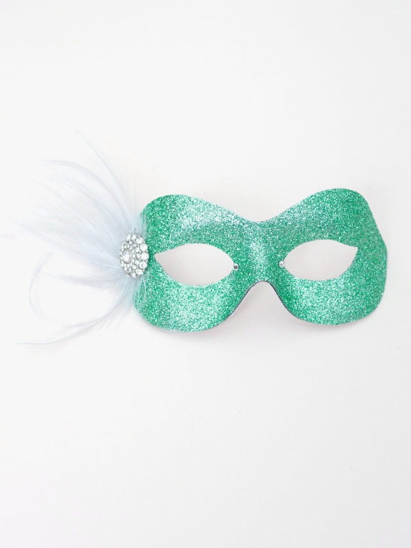 Pretty Sparkly Mint Ice & Silver Masquerade Eye Mask