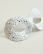 Petite White Masquerade Mask with swarovski pearls & crystals, 1b