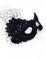 Womens Beautiful Black Beaded Lace Masquerade Eye Mask b