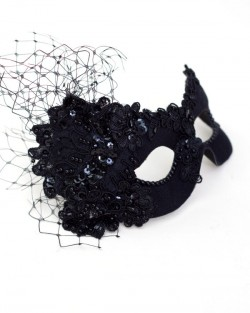 Womens Beautiful Black Beaded Lace Masquerade Eye Mask b