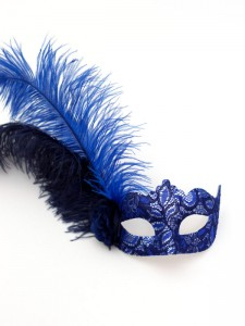 Women's Calista Royal Navy Blue & Silver Lace Feather Venetian Masquerade Prom Mask