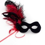 womens red & black feather flower valentines masquerade mask