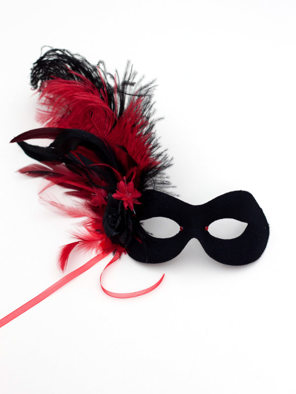 Women's Floral Black & Red Feather Masquerade Mask