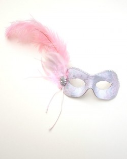 Handmade Pale Pink Lace Feather Masked Ball Masquerade Eye Mask d