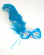 Handmade Turquoise Lace Feather Masked Ball Masquerade Mask