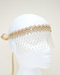 Bridal Gold & Pearl Lace Veil