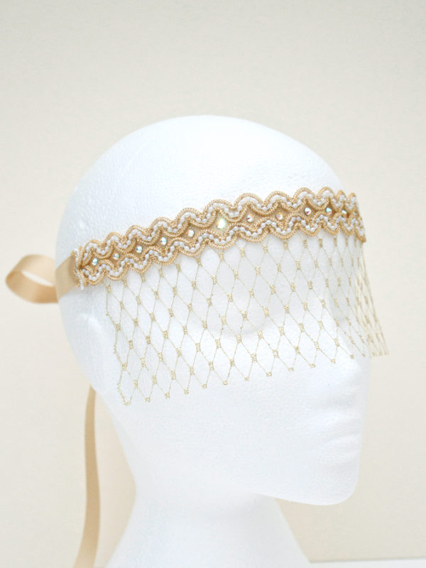 Bridal Gold & Pearl Lace Veil