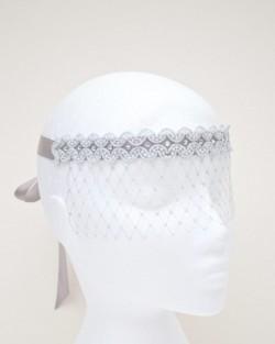 Women's Silver Grey Pearl Swarovski Crystal Face Veil Masquerade Mask b