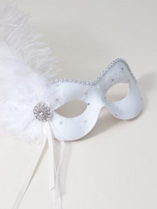 ivory white lace feather masquerade mask