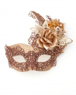 Unique Bronze Gold Venetian Butterfly Lace Masquerade Mask