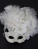 Unique Wedding Ivory White Light Up Venetian Masquerade Mask