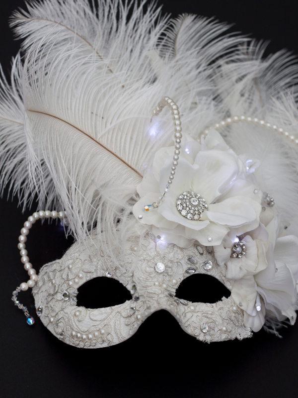 Bellezza Bridal Ivory White Light Up Masquerade Mask
