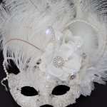 Unique Bridal Winter Ivory White Light Up Masquerade Mask