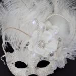 Unique Bridal Winter Ivory White Light Up Masquerade Mask