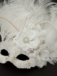10. Ivory & Crystal Lace Feather Bridal Mask