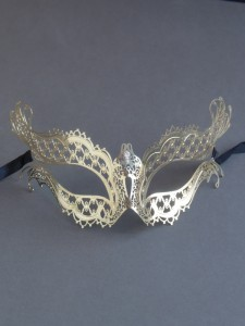 Gold Metal Filigree Katherine Masquerade Mask