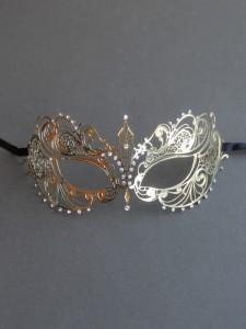 Gold Sophie Metal Filigree Lace Masquerade Mask