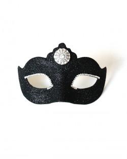 Luxury Petite Black Crystals Venetian Mask