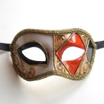 Mens Orange & Black Harlequin Masquerade Mask